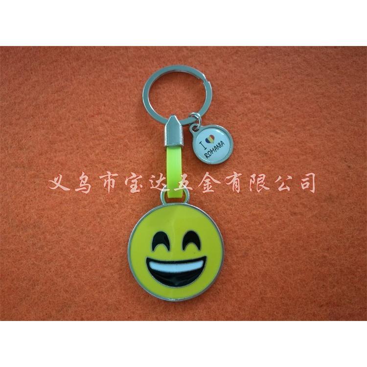 创意表情笑脸时光锌合金钥匙链金属创意吊坠钥匙扣新颖欧美饰品挂件