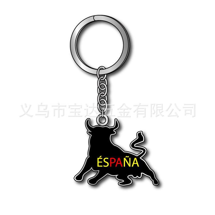 厂家供应西班牙牛头创意金属钥匙扣espana壁虎鹦鹉骆驼钥匙链旅游纪念品定制