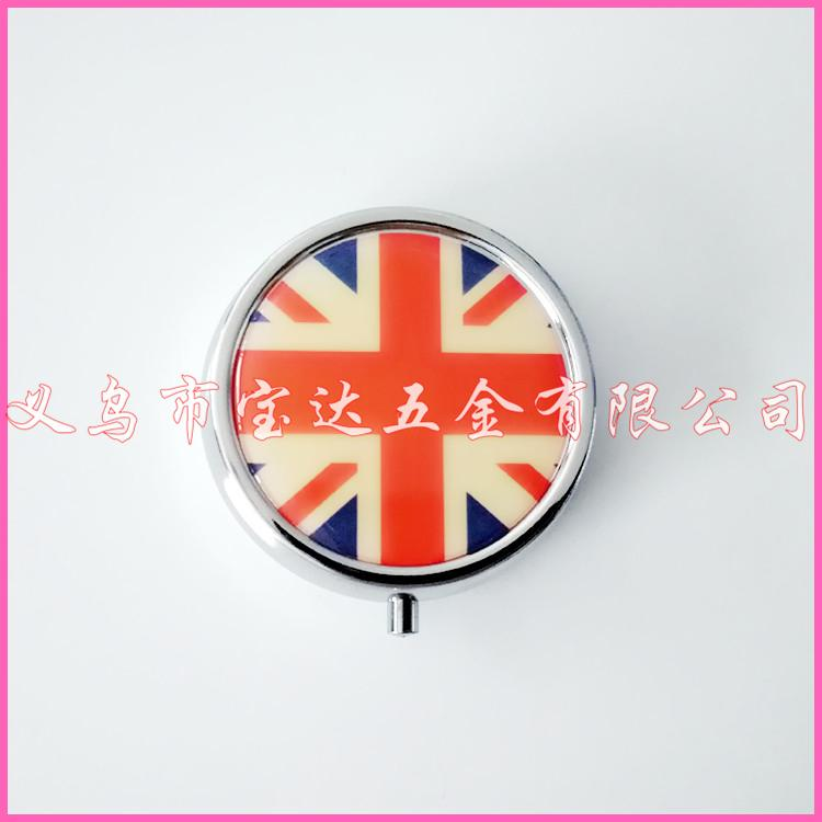 供应金属药丸盒厂家圆形三格英国国旗创意便携创意药盒子可定制客户logo