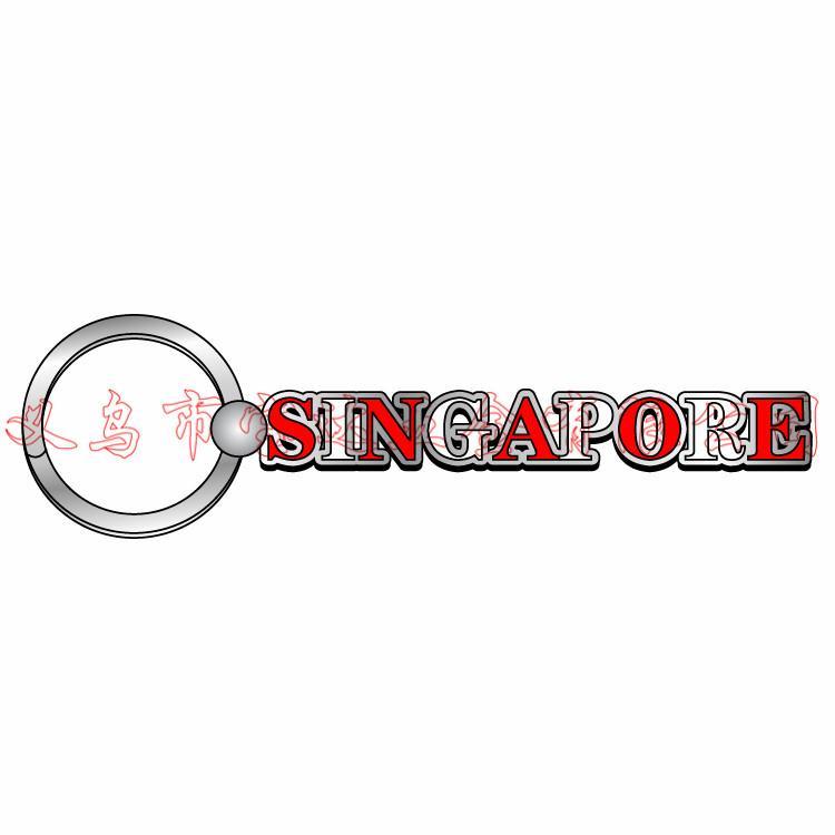 新加坡Singapore风景金属钥匙扣鱼尾狮旅游纪念品广告促销礼品