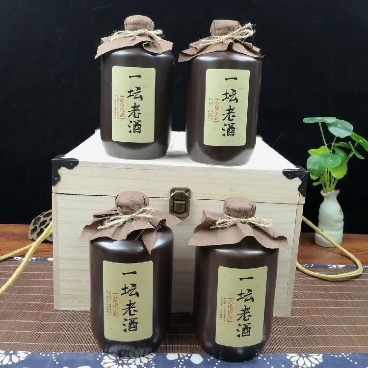 陶瓷酒瓶1斤500ml定制酒瓶高档创意仿古个性密封土陶酒瓶木箱礼盒包装