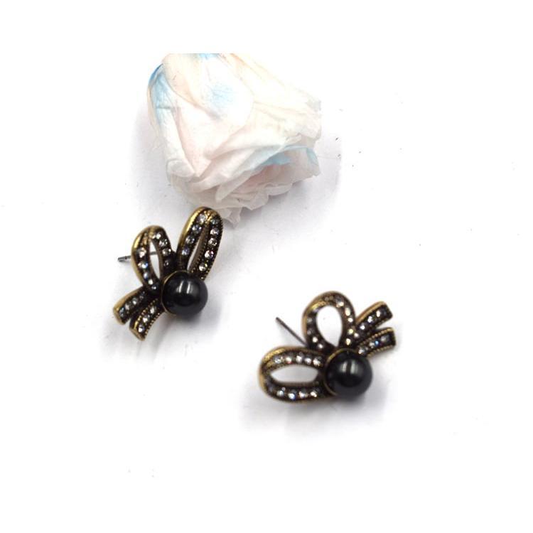 個性甜美蝴蝶結耳釘 鑲水鉆少女百搭熱銷耳飾 森豪廠家直銷流行氣質蝴蝶結耳釘