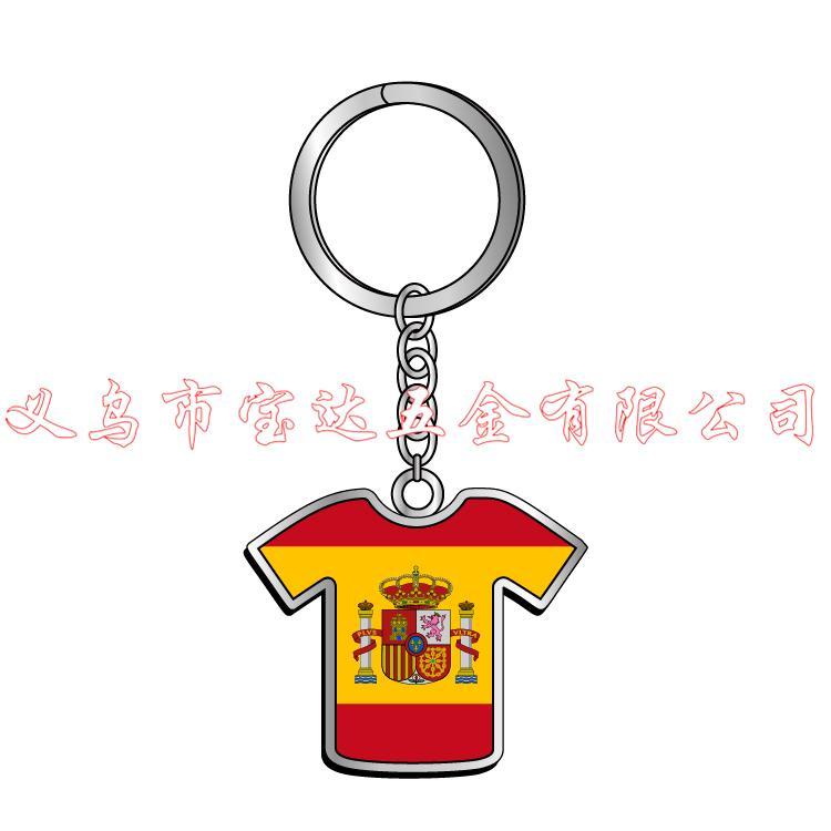 厂家供应西班牙衣服国旗牛头创意金属钥匙扣espana壁虎鹦鹉骆驼钥匙链旅游纪念品定制