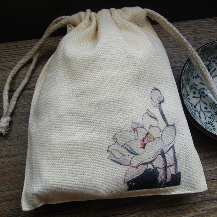 厂家定制 帆布束口袋环保抽绳束口印花全棉棉布束口袋抽拉绳