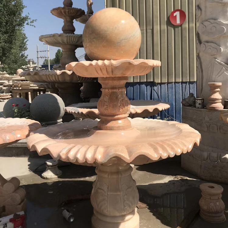 石雕石喷泉风水球大理石欧式流水摆件小区别墅庭院黄锈石景观喷泉