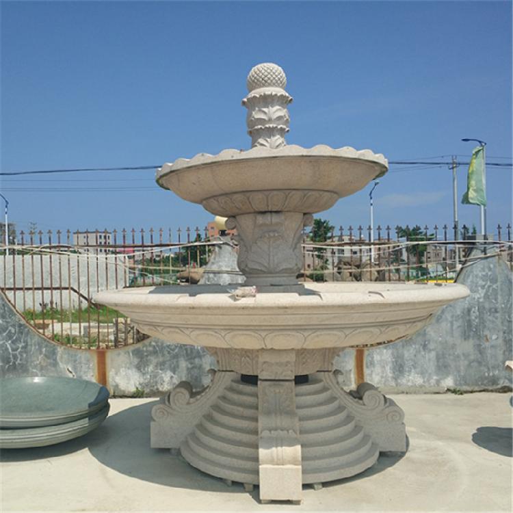石雕喷泉欧式小区造景水钵花岗岩大型喷泉石雕风水球流水摆件