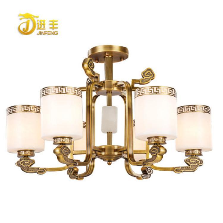 中式全铜云石灯生产厂家 厂家直销的仿云石灯 高端新中式吊灯 复式中空客厅全铜新中式吊灯
