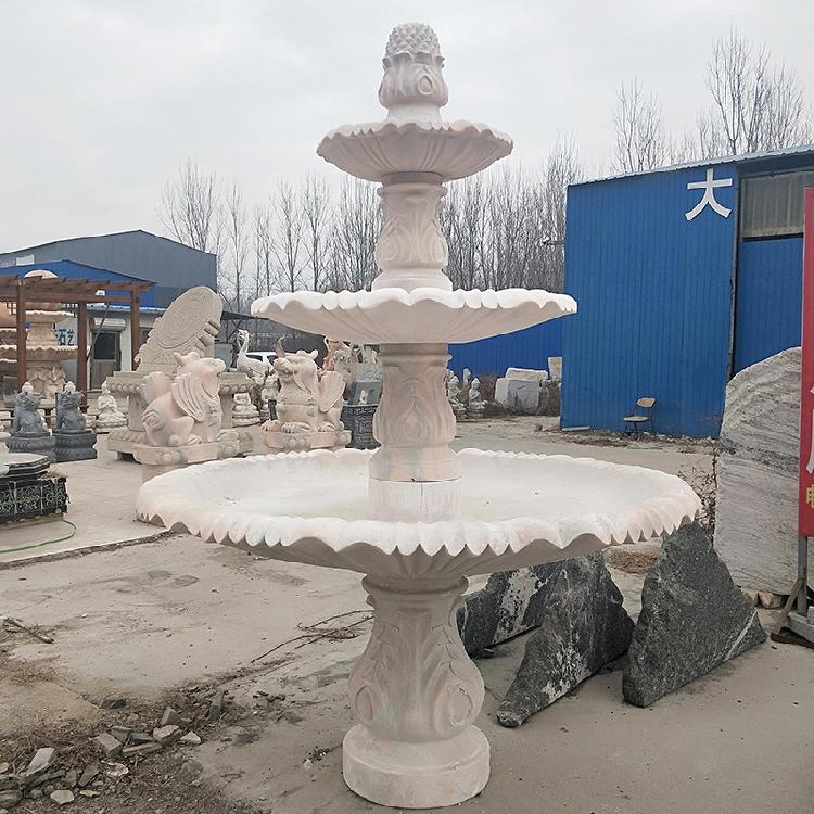 石雕汉白玉喷泉欧式室内室外流水喷泉园林景观装饰工艺品