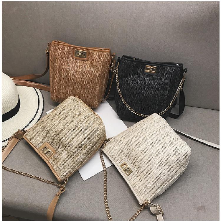 新款小包包女2019新款韩版洋气编织手提包水桶包