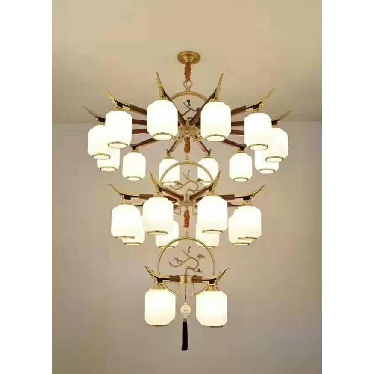 生产新中式木艺吊灯 中山市现代新中式客厅吊灯 中式全铜云石灯生产厂家