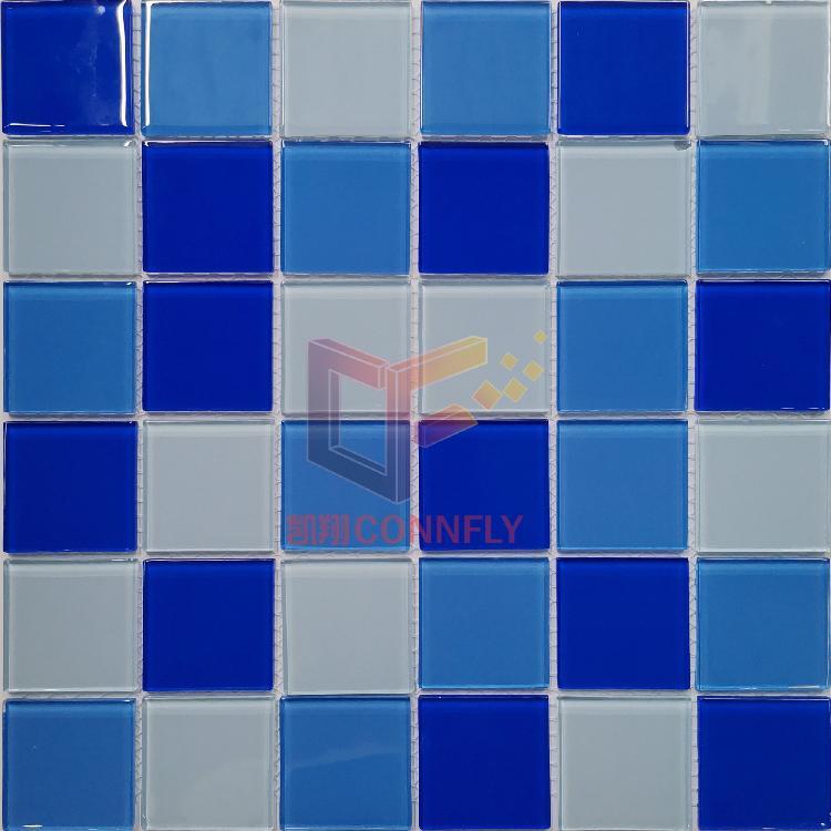 凯翔深浅蓝色混铺水晶游泳池马赛克工程泳池采购专用