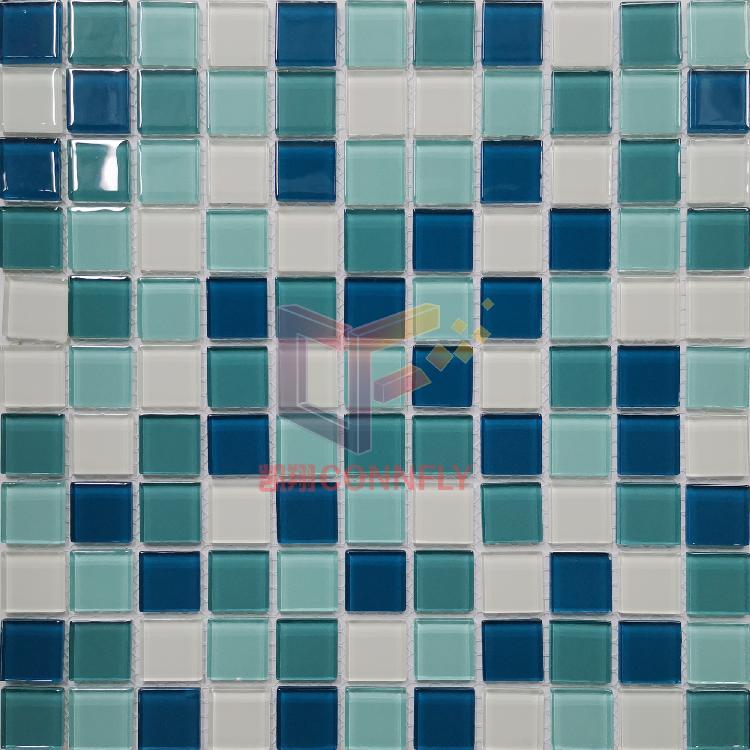 凯翔绿色白色混小清新洗手台用水晶玻璃马赛克游泳池马赛克