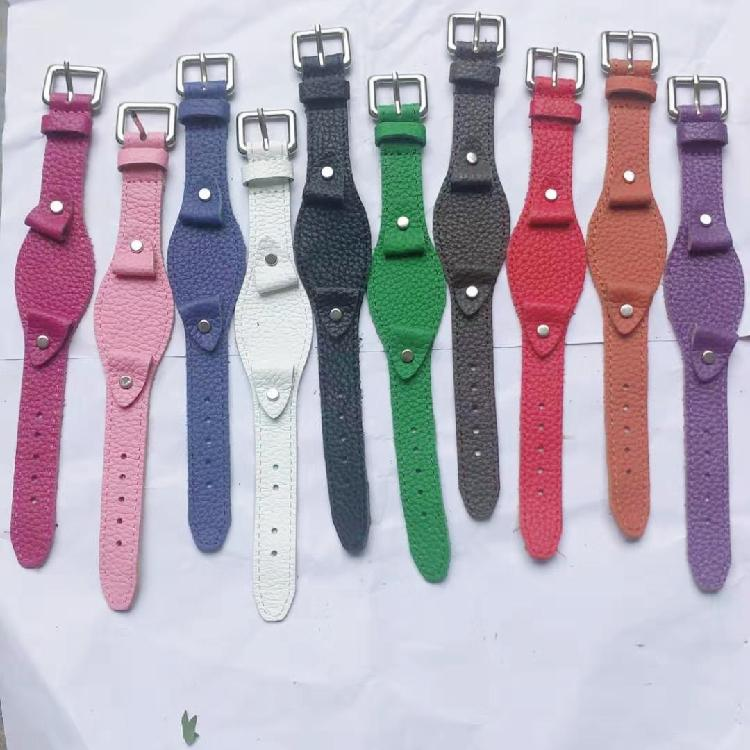 永大纯手工表带爱马仕真皮针扣牛皮复古做旧黄/红/绿色牛皮手表带配件厂家