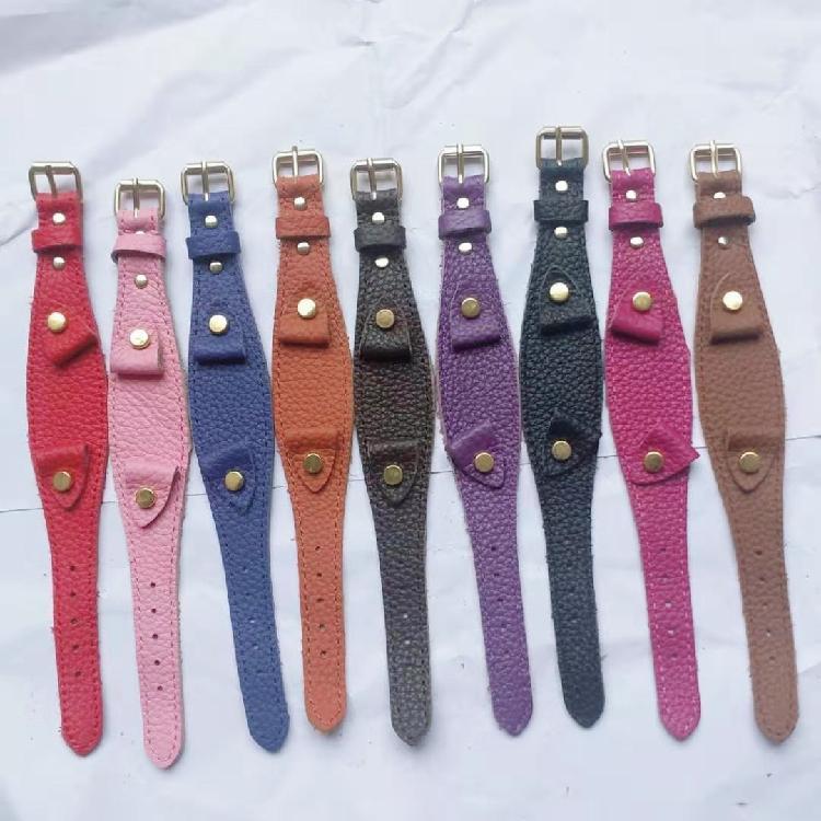 纯手工真皮表带真皮爱马仕针扣牛皮复古做旧黄/红/绿色牛皮手表带配件零部件厂家