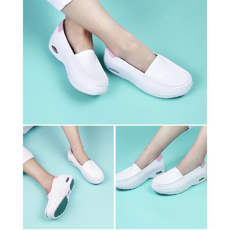 豫鑫舒洁白色护士鞋女2019新款白色平底坡跟舒适软底韩版医院防臭透气