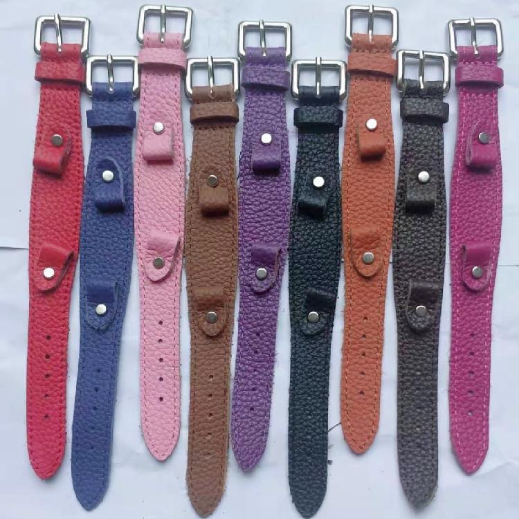 纯手工表带真皮爱马仕真皮针扣牛皮复古做旧黄/红/绿色牛皮手表带配件零部件厂家