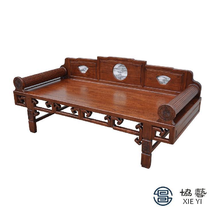 红木家具刺猬紫檀罗汉床新中式花梨木实木情人椅卧榻休闲椅沙发椅协艺家具新中式风格