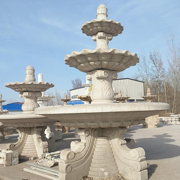 石雕喷泉欧式大理石黄锈石喷泉园林景观雕塑公园广场流水摆件