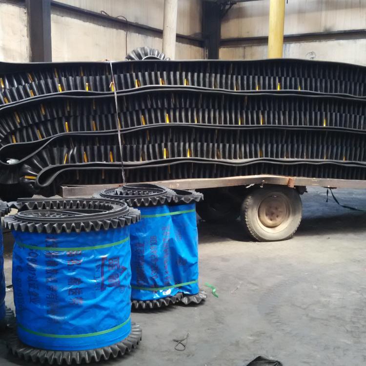 厂家定做高品质橡胶裙边档格输送带T型TC型波状挡边大倾角输送带