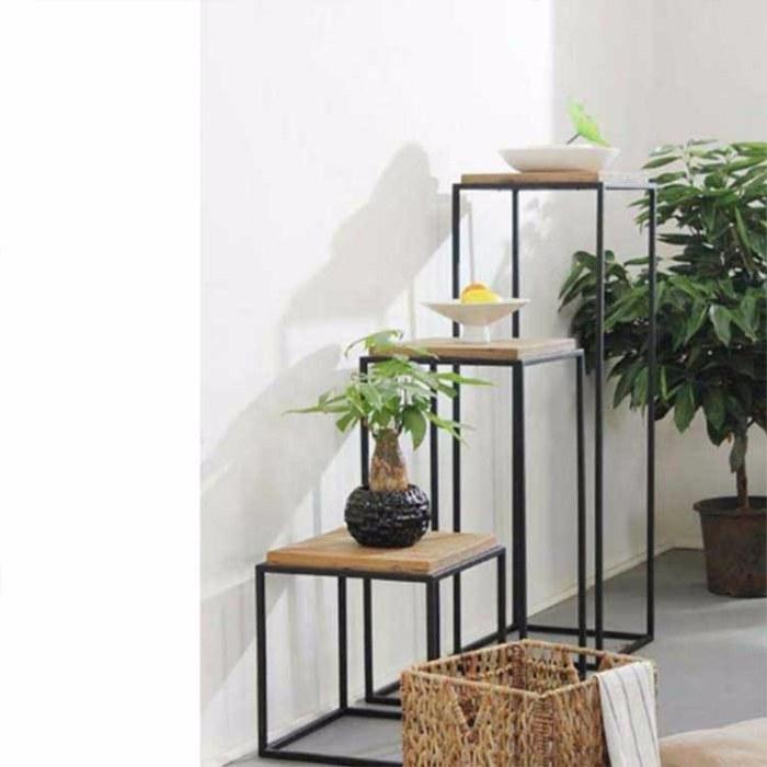 可定制 现代简约铁艺花架  多层落地室内架子 客厅阳台台阶式植物架