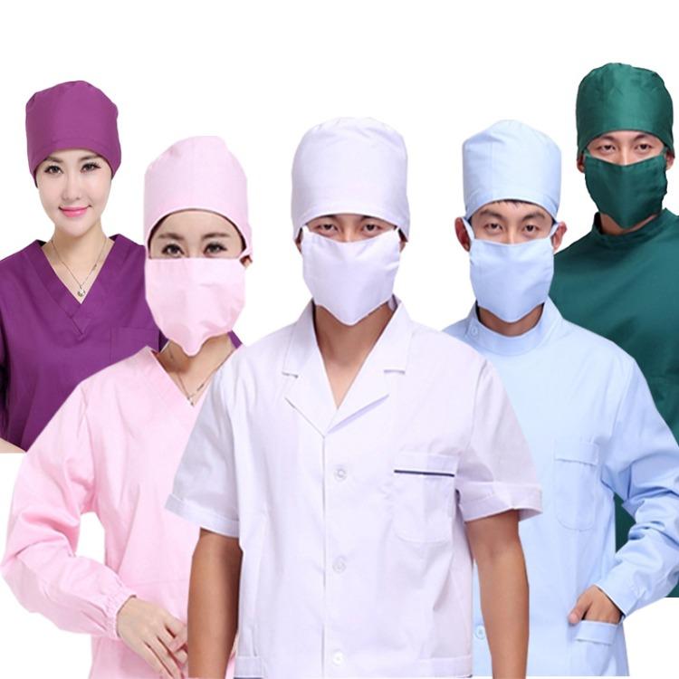 定制医生帽圆帽纯棉手术帽印花工作帽子墨绿色口罩白色紫蓝卫生帽