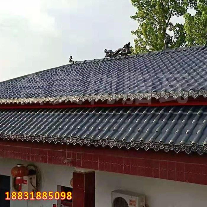南宫仿古树脂瓦屋面   仿古树脂瓦中国红吉利瓦