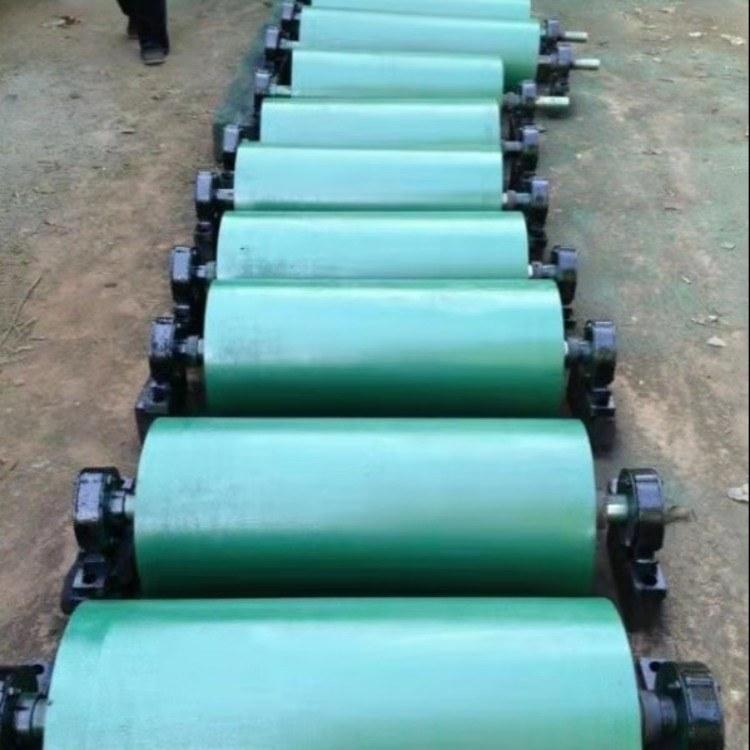 蓝箭厂家定做输送带包胶传动滚筒矿用输送机无动力橡胶改向滚筒