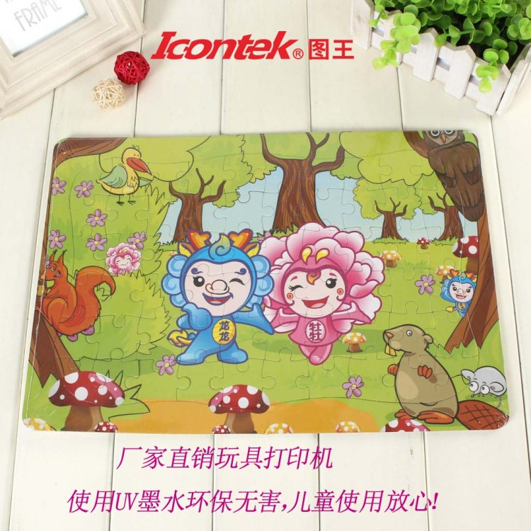 Icontek图王直销益智拼图玩具 木制玩具 塑料玩具UV打印机彩绘设备厂家