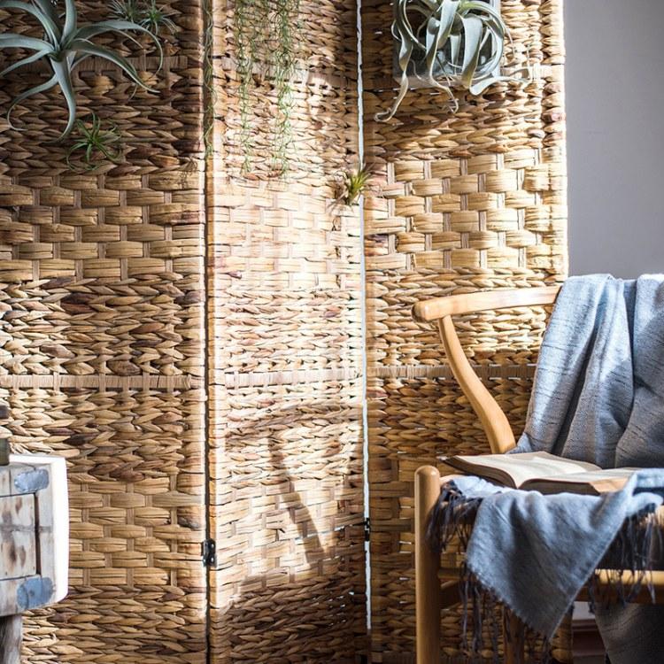 隔板墙卧室分割房间手工草编屏风装饰隔断三扇折叠美式拍摄道具