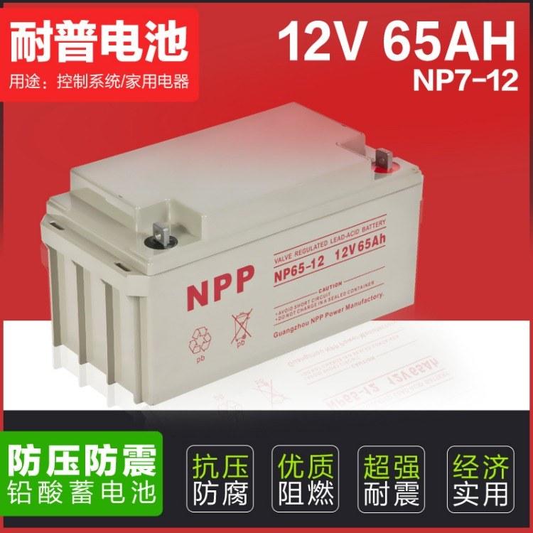 NPP耐普蓄电池 NPG12-65 12V65AH 太阳能直流屏UPS电源专用蓄电池
