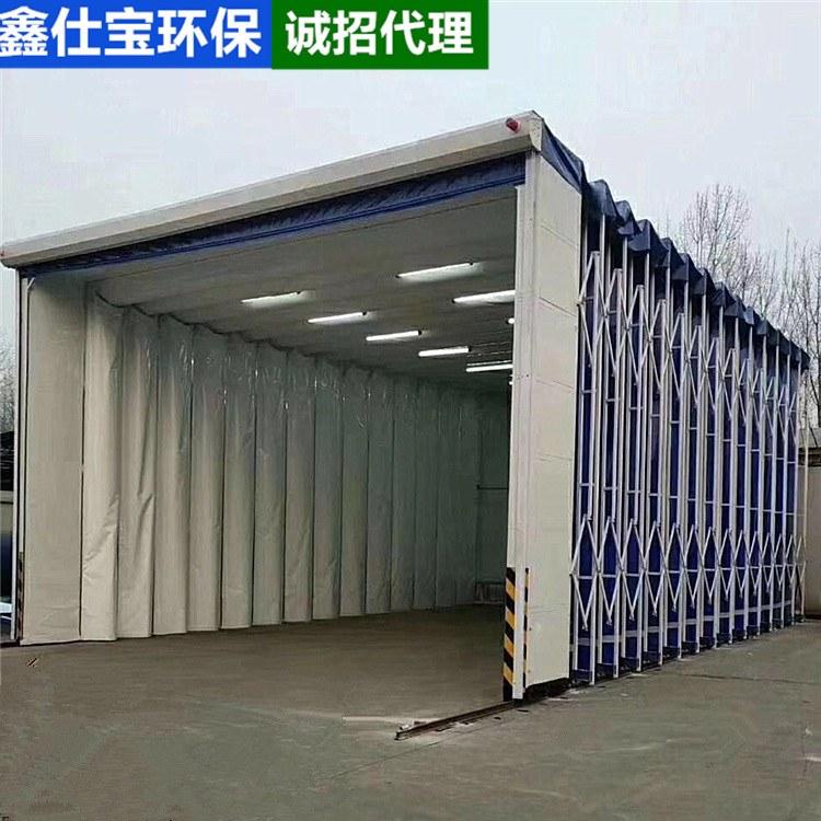 鑫仕宝环保 支持定制  移动式伸缩喷漆房折叠式电动轨道打磨房