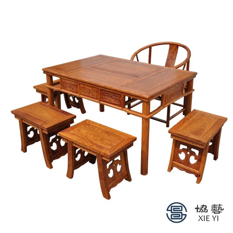 茶桌新中式1.2米禅意实木小型中式办公室茶桌椅组合茶台简约现代中山中式家具厂家