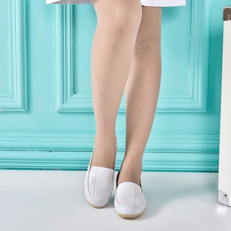 2019春牛皮护士鞋白色防滑透气牛筋底软底白色坡跟平底小白鞋新款