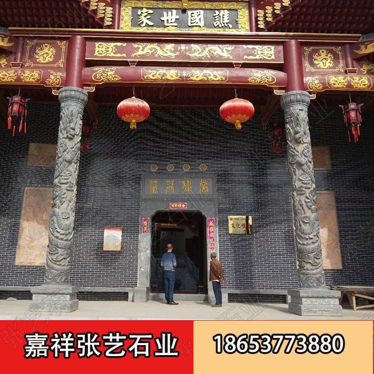 寺庙石龙柱安装 滚龙柱文化柱厂家 青石石雕龙柱-嘉祥张艺石雕