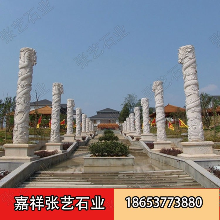 山东石龙柱厂家专业加工青石龙柱 广场石头柱子 宗祠石柱子安装