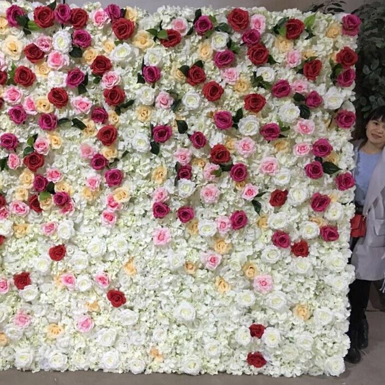 松涛假花墙制作厂家 婚庆仿真花墙安装公司 婚庆装饰