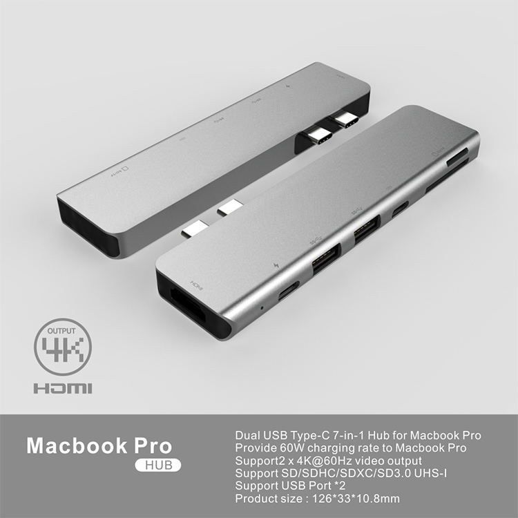 type-c hub转HDMI/千兆网口/PD供电/ USB-C 七合一多功能扩展坞