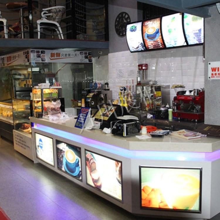 糕点房面包蛋糕店复古接待收银台 万川展柜 超市收银台订做 新中式实木吧台