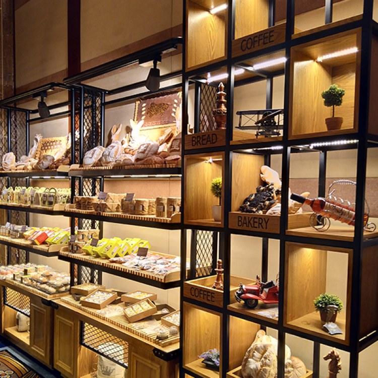万川展柜 定制复古柜台  面包柜  高档木质烤漆柜仿实木柜子