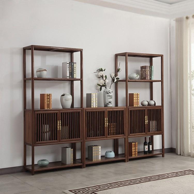 协艺家具 客厅博古架尺寸 实木博古架 中式家具 新中式 茶室风格