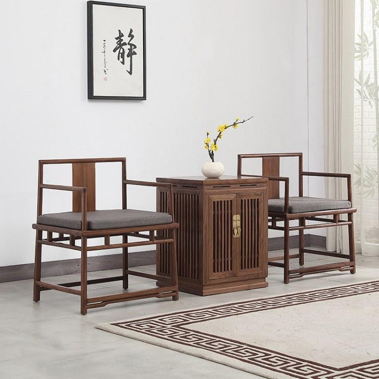 协艺新中式北美黑胡桃主人椅实木圈椅休闲椅单人椅太师椅禅意家具 花梨木中山家具厂家