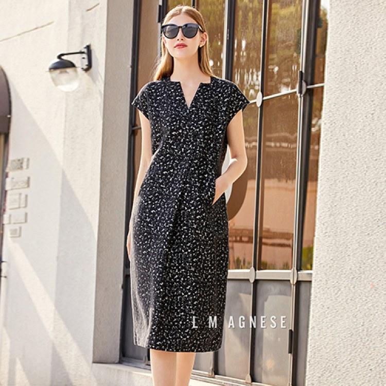 简爱格妮斯高端品牌女装印花v领连衣裙