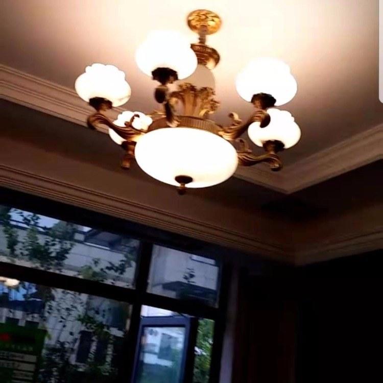 家居灯饰源头厂家 大厅云石吊灯 四层全铜大吊灯 客厅灯 楼梯欧式吊灯 别墅灯具定制