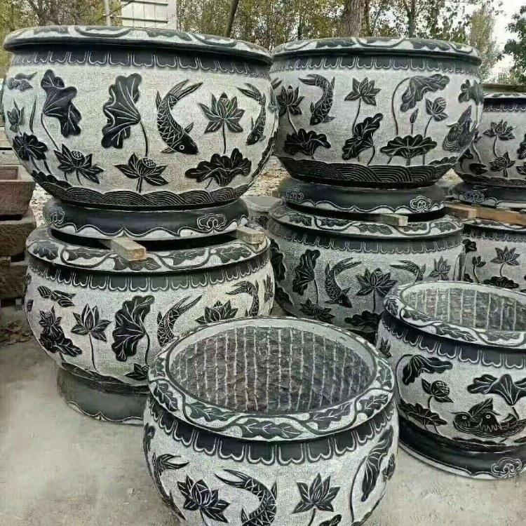 厂家直销石雕鱼缸  仿古石缸  石雕盆景 柱鼓石  柱础石