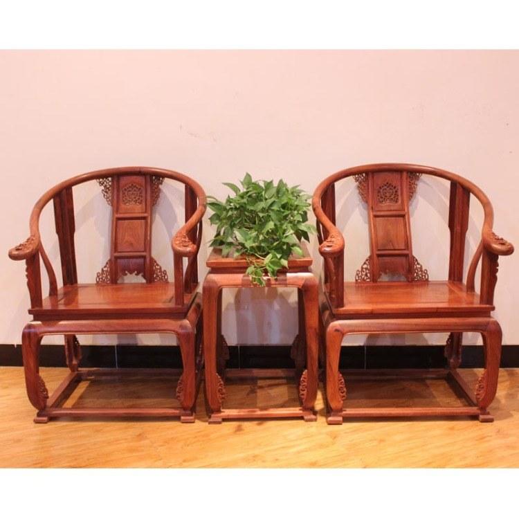 福联居红木缅甸花梨皇宫椅三件套大果紫檀家具厂家直销