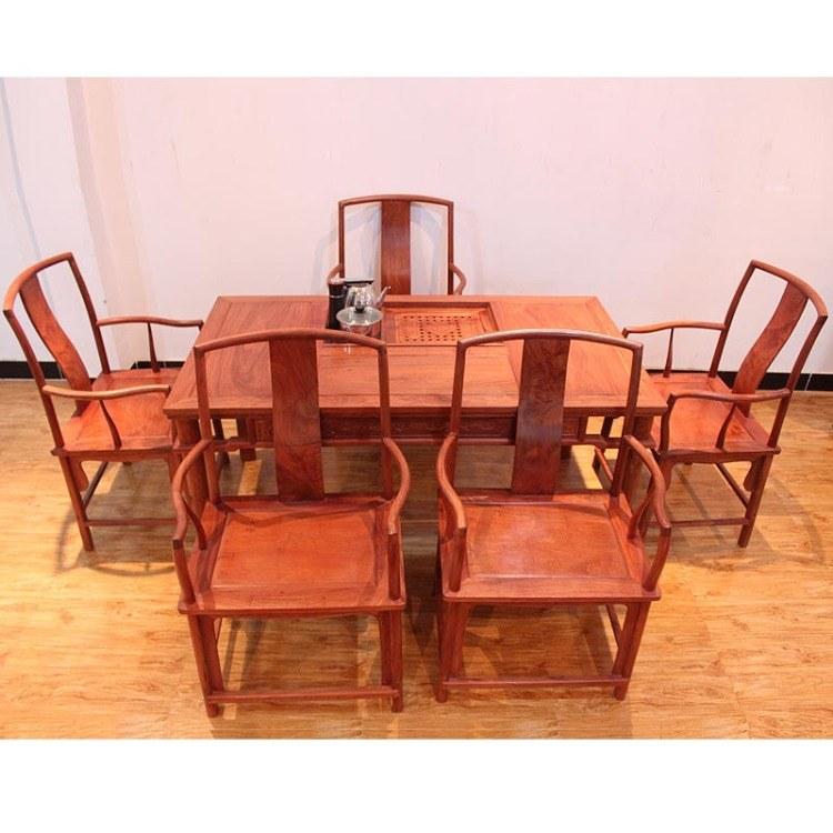 红木家具缅甸花梨功夫泡茶桌实木待客茶台茶几桌椅组合