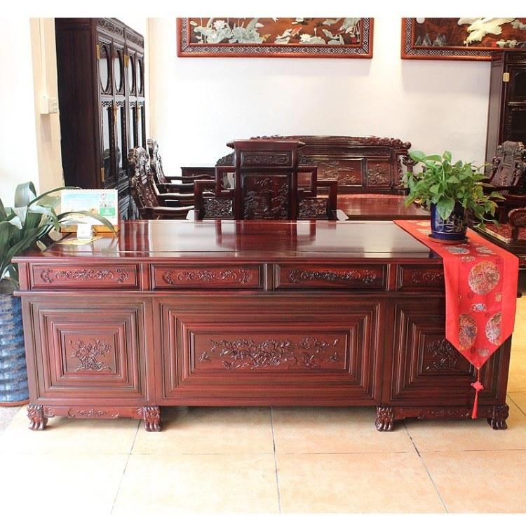 福联居红木家具酸枝豪华老板台雕花中式办公桌椅组合