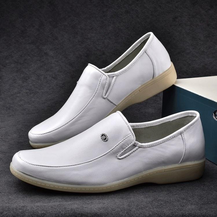 正品真皮 松紧圆头中跟牛筋底 坡跟女鞋低帮鞋白色护士鞋