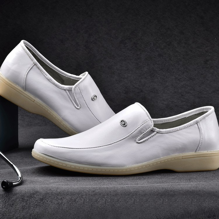 正品真皮 圆头中跟牛筋牛筋底护士鞋批发 跟女鞋低帮鞋白色护士鞋