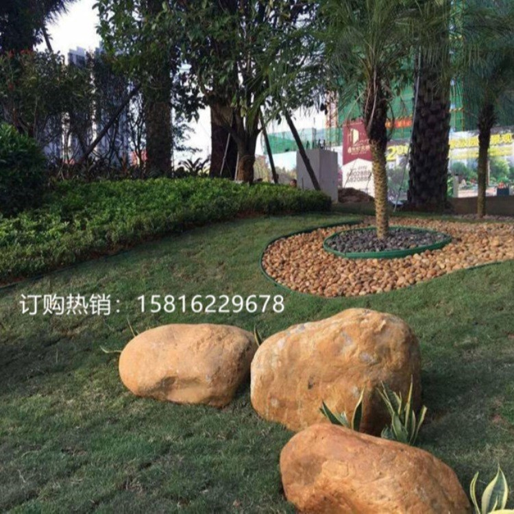 河北石家庄黄蜡石 黄蜡石假山案例图 小型黄石批发